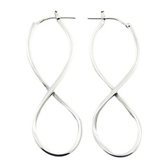 Elegant handmade enterwined sterling silver hoop earrings