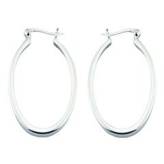 Oval shaped open design shiny polished sterling silver hoop earrings