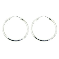 Endless round wire polished sterling silver 40 mm hoop earrings