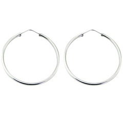 Endless wire hoop polished sterling silver 54mm earrings