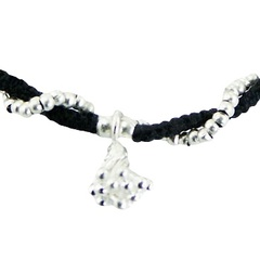 Wavy Macrame Bracelet Silver Flower Cluster & Circle Beads