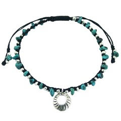 Modern Silver Charm Beads & Turquoise Macrame Bracelet
