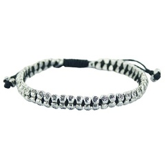 Double Row Of Silver Floral Beads In Macrame Bracelet