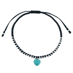 Macrame Bracelet Multiple Silver Beads & Faceted Turquoise Heart