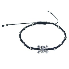 Silver Skull and Crossbones Macrame Bracelet with Beads