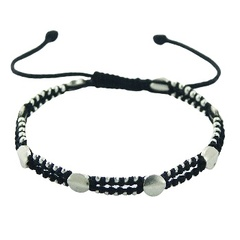 Double Row Macrame Bracelet with Silver Discs & Circle Beads
