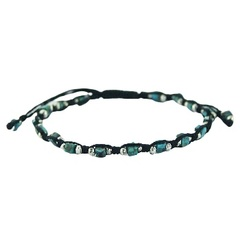 Macrame Wax Cotton Bracelet Turquoise & Floral Silver Beads