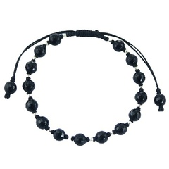 Faceted Black Agate Stone & Silver Beads Shamballa Bracelet