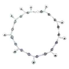 Sterling Silver Charm Anklet Flower Chain And Shiny Spheres