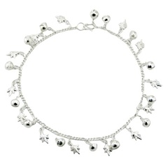 Sterling Silver Charm Anklet Fine Puffed Shiny Leafs & Spheres