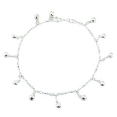Sterling Silver Charm Anklet Adorable Sphere & Sun Charms