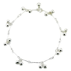 Sterling Silver Charms Anklet Pairs Of Shiny Spheres Charms