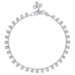 Puffed Dainty Daisy Flower Chain Antiqued Sterling Silver Anklet
