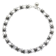 Delicate Fancy Flower Antiqued Chain Sterling Silver Anklet