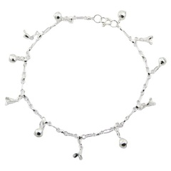 925 Silver Anklet Lovely Flower Cup Charms & Spheres