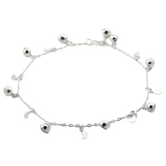 Shiny Moon & Sphere Charms Sterling Silver Anklet