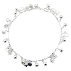 Sterling Silver Anklet With Dainty Flower Silhouette Charms