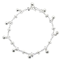 Fancy Dragonfly Chain Sterling Silver  Anklet With Spheres