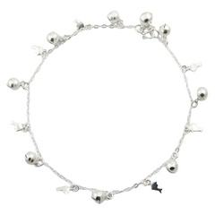 Sterling Silver Adorable Dolphin Charms Anklet With Spheres