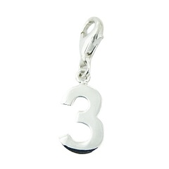 Number Three Sterling Silver Charm with Lobster Clasp