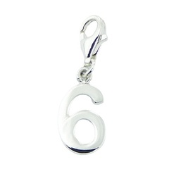 Number Six Sterling Silver Charm with Lobster Clasp