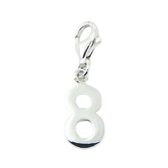 Number Eight Sterling Silver Charm with Lobster Clasp