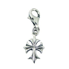 Antiqued Sterling Silver Cross Charm with Lobster Clasp
