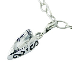 Polished Casted Sterling Silver Iron-shaped Charm on Lobster Clasp