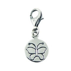 Polished Sterling Silver Disc Engraved Butterfly Charm on Lobster Clasp