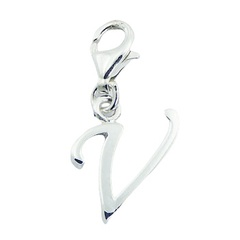 Sterling Silver Letter V Planet Silver Designer Clip-On Charm