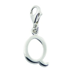 Shiny Letter Q Unique Planet Silver Designer Clip-On Charm