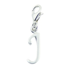 Plain Sterling Silver Letter J Clip-On Charm Silver Jewelry