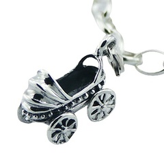 Sterling Silver Clip-On Charm Nostalgic Baby Carriage Or Pram