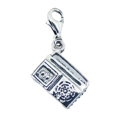 "Unique Sterling Silver Jewelry Mini ""Ghetto Blaster"" Charm"
