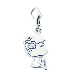 Cute Little Girl Profile Sterling Silver Charm Lobster Clasp