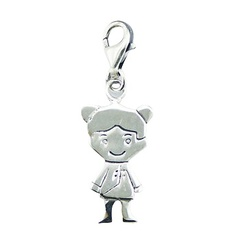 Plain Sterling Silver Doll Charm Unique Planet Silver Design