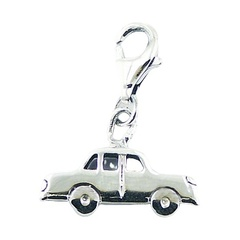 Plain Sterling Silver Car Charm Pendant Detailed Automobile