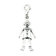 Cute Funny Clown Charm Detailed Sterling Silver Work