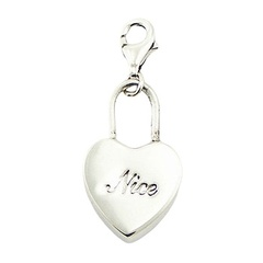 "Plain 925 Silver Shiny Boxed Heart Charm Engraved ""Nice"""