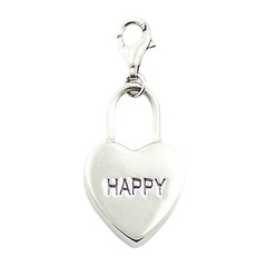 """Happy"" Sterling Silver Heart Charm With U Shaped Bail"