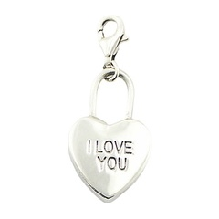 "Engraved ""I Love You"" Sterling Silver Heart Charm"
