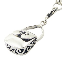 Ajoure Sterling Silver Gorgeous Handbag Charm Lobster Clasp
