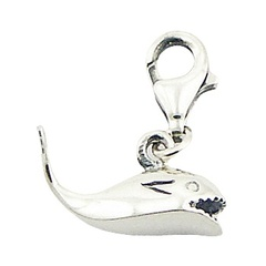 Sterling Silver Fish Showing Teeth Charm Pendant