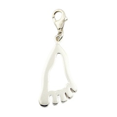 Outlines Of A Foot Charm Shiny Sterling Silver On Lobster Clasp