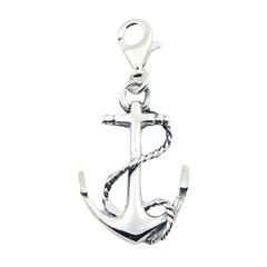 Sterling Silver Anchor Charm With Antiqued Twisted Rope