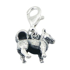 Chinese Zodiac Dog Charm Antiqued Ornate Sterling Silver