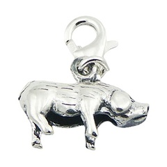 Chinese Zodiac Pig Or Boar Charm Antiqued Sterling Silver