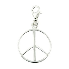 Sterling Silver Peace Symbol Charm Round-Sections