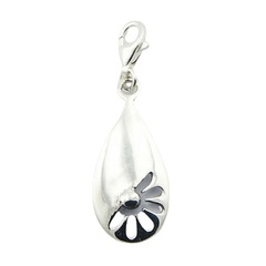 Sterling Silver Charm Teardrop With Flower Cut Out