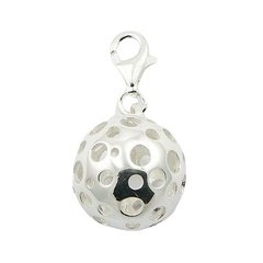 Sterling Silver Bubbly Sphere Charm Open Circles